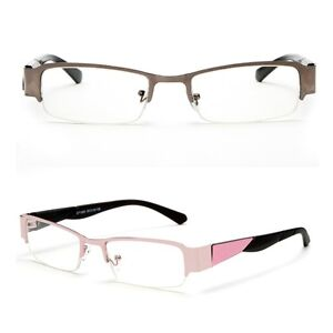 Half Frame Clear Lens Glasses Rectangular Pink Black Non ...