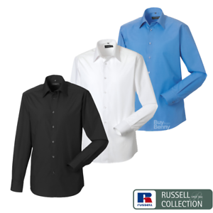 Russell-Collection-A-Medida-Camisa-Mangas-Largas-Inteligente-Formal-Tallas-de-Hombre-Cuidado-facil