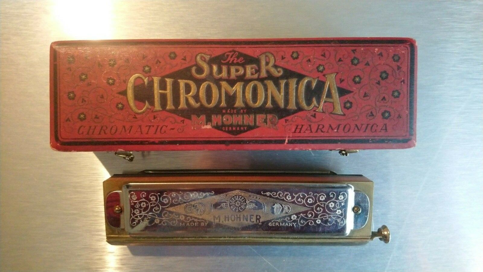 Mundharmonika Super Chromonika Hohner antik Musik Instrument harmonica