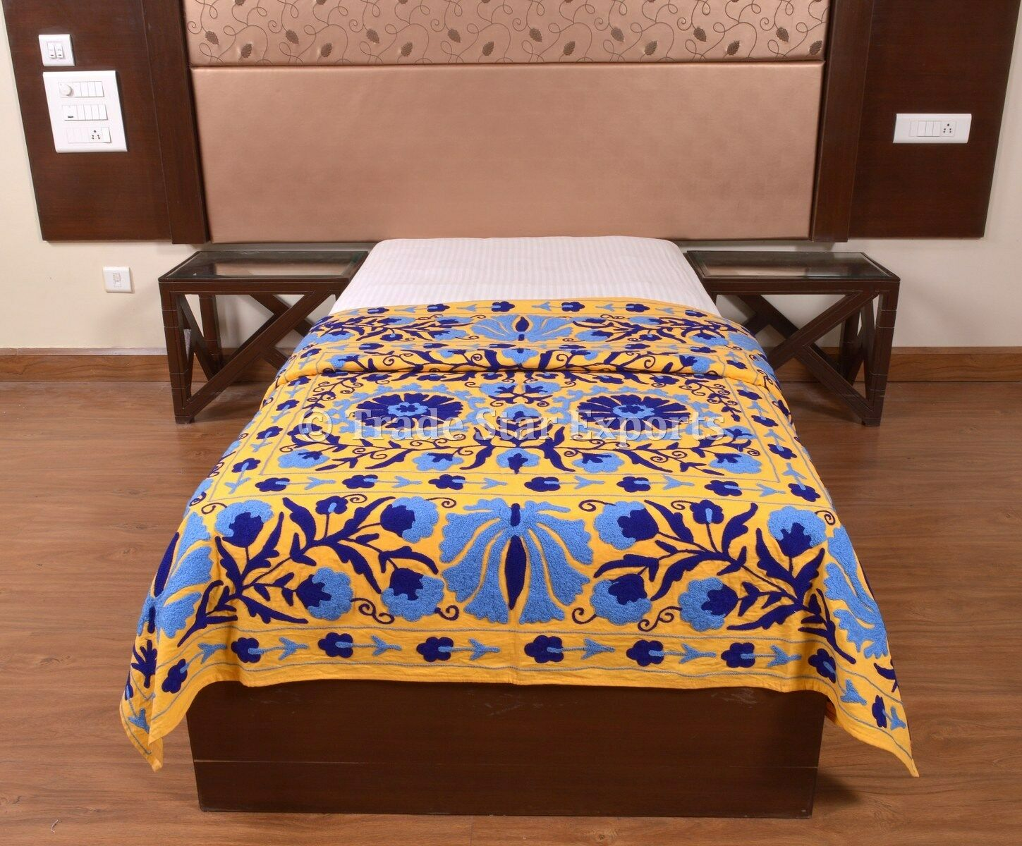 Indian Suzani Embroidered Bedspread Decorative Wall Hanging Boho Cotton Bedding