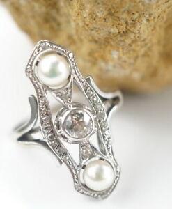 750er-Gold-Ring-Weissgold-Brillant-Naturperle-Diamantsplitter-18-Kt-4-80g-Gr-57