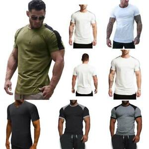 Muscle-tee-t-shirts-blouse-slim-fit-summer-t-shirt-tops-casual-o-neck-men-039-s