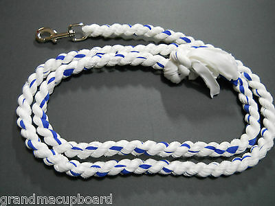 "Blue White 78"" Cotton Horse Lead Rope Tack Dog Leash Heavy Chrome Snap Clip New"