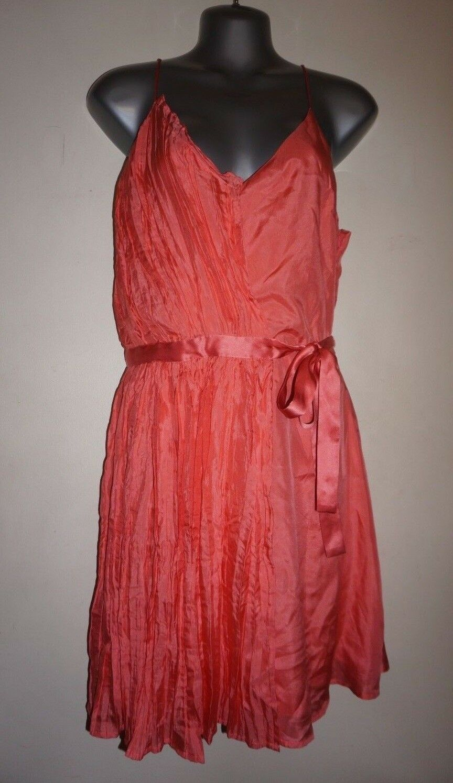Madison Marcus coral Farbe silk sundress with pleats & waist tie Größe L NWT