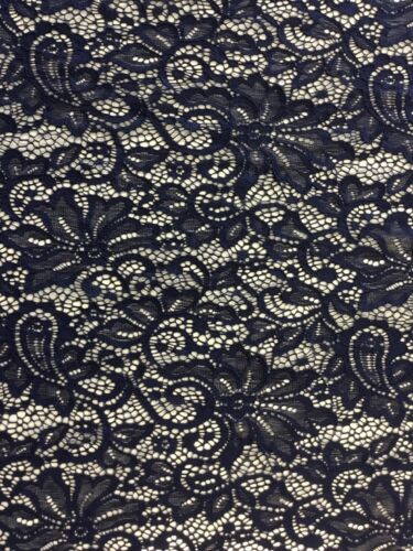 NEW Designer Navy Stretch Net Floral Paisley Lace Double Scalloped Border Fabric