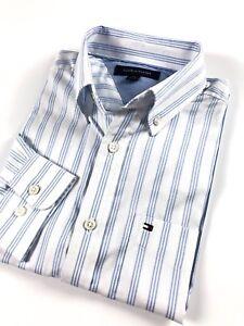 TOMMY-HILFIGER-Shirt-Men-s-Lightweight-Oxford-Blue-White-Stripe-Custom-Fit