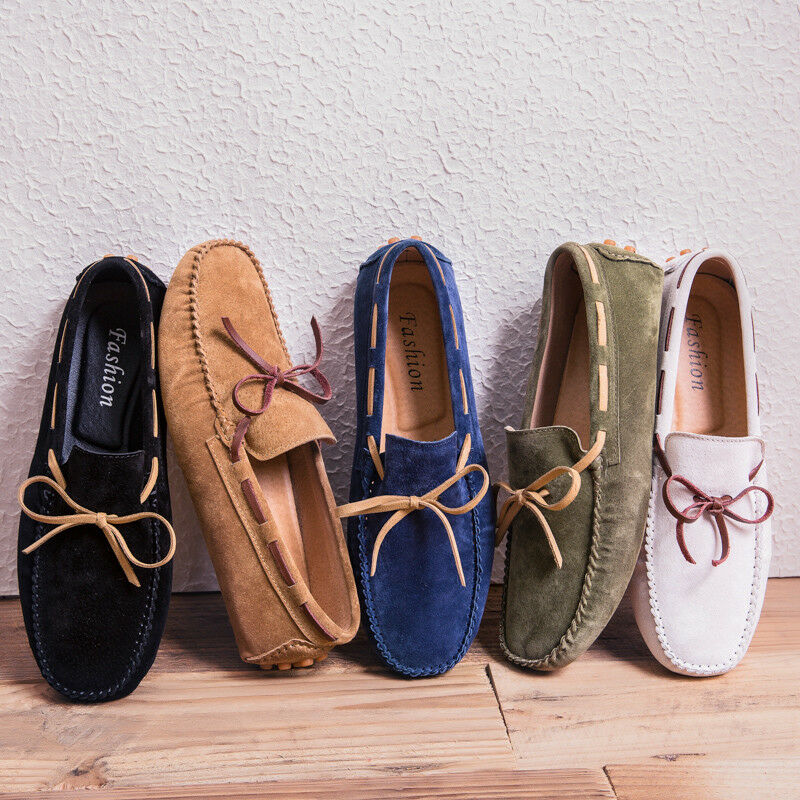 Mens Loafers Comfort Driving shoes Faux Suede Casual Gommino Bow Moccasins shoes
