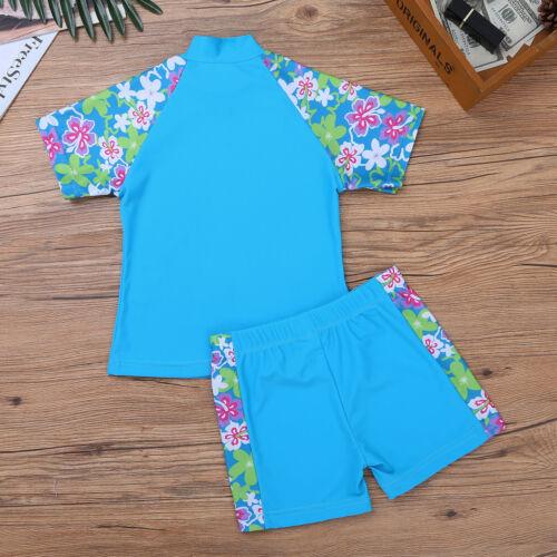 Girls Kids Rash Guard Costume Swimwear Floral Swimsuit Surfing Bathing Beachwear