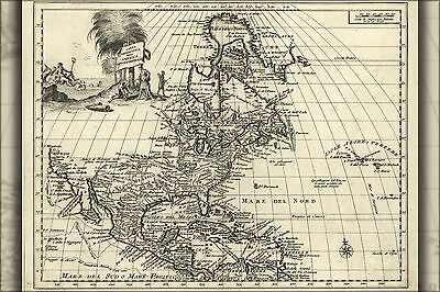 North America 1652 Vintage Style Early United States Map 24x28