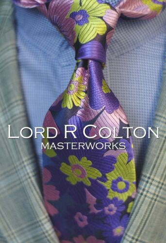 Lord R Colton Masterworks Tie New Arthur of Briar Purple Floral Necktie