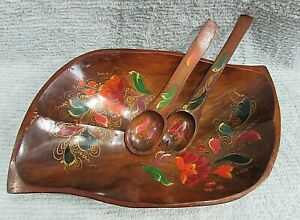 Hand-Painted-Floral-Toleware-Large-Hand-Carved-Wood-Salad-Bowl-Spoons-FREE-S-H