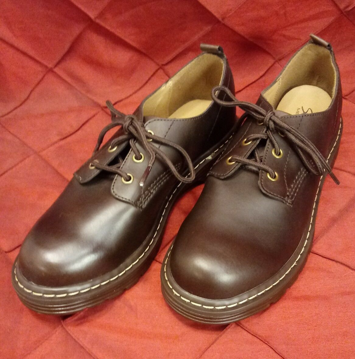 SKECHERS 48447 BURGUNDY LEATHER WOMENS LACE UP OXFORDS SHOES SZ 10