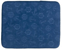 Nautical Blue Embossed Microfiber Absorbent Cushioned Dish/stemware Drying Mat