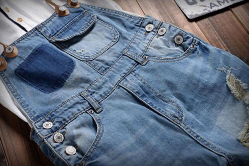 Men Classical Denims Ripped Hole Jeans Suspender Jumpsuits Overalls Shorts Pants