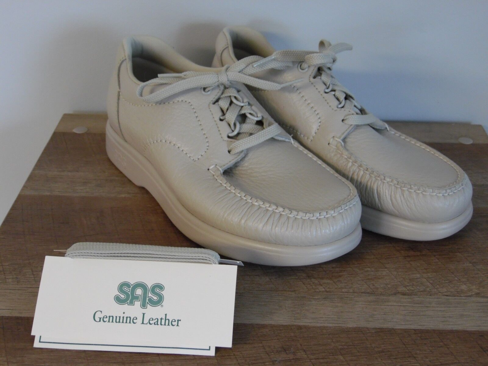 Mens SAS shoes Tumbled leather tan beige m Width Size 8.5 M Comfort USA Made