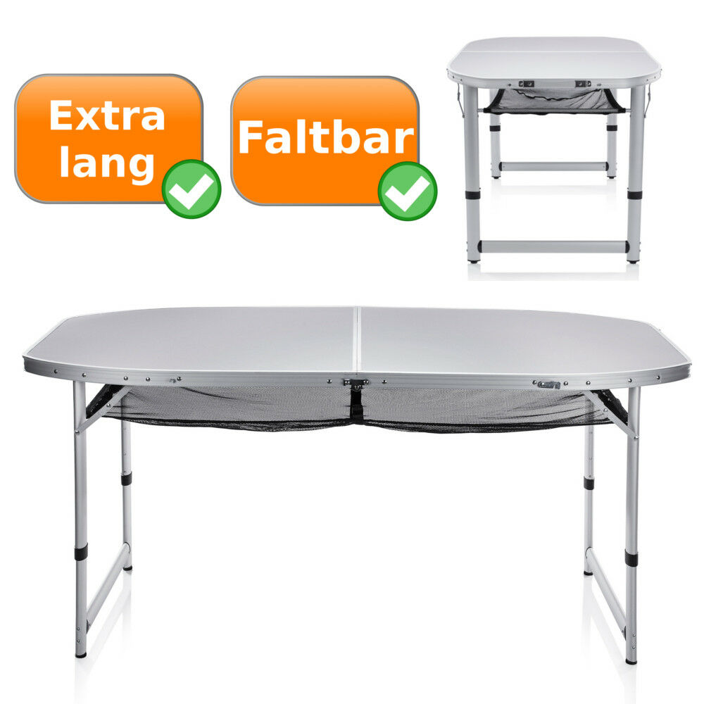 XXL mesa maleta 80x150cm gran más fácil camping mesa de altura ajustable mesa de aluminio