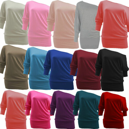 WOMEN ONE OFF SHOULDER BATWING LONG SLEEVE SLOUCHY T-SHIRT BAGGY TOP SIZES 8-26