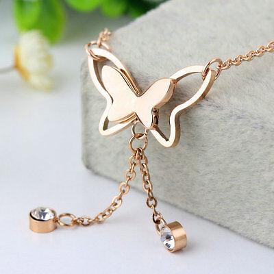 New Butterfly Single Diamond Rose Gold Tassels Anklets Bracelets Jewelry #h