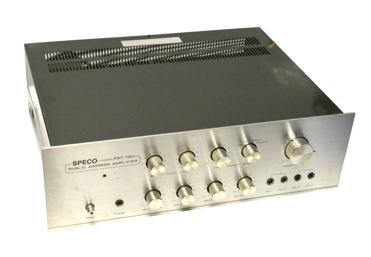 SPECO TECHNOLOGIES PAT-120 PUBLIC ADDRESS PA AMPLIFIER - SOLD AS IS