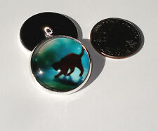 Playful Black Cat Glass Dome Button handcrafted collectible shank sew or pin