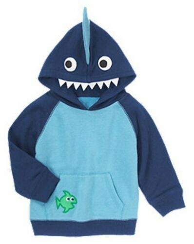 Gymboree Rock the Waves Blue Shark Terry Hoodie Sweatshirt 12-24 m 2T 3T NEW NWT