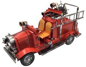De-Coleccion-Clasico-Extra-Grande-Rojo-Fuego-Motor-Tin-Metal-39cm-longitud-Coleccionable