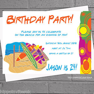 Details About Surfboard Surfing Beach Childrens Birthday Party Invitations X 12 Envs H0786