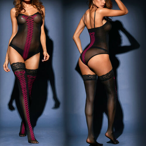 2PC Lingerie Simple Solid Black Mesh Faux Lace Up Bodystocking Thigh Stocking OS