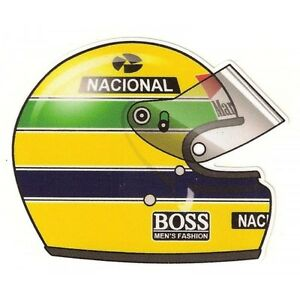 ayrton senna helmet right sticker droit ebay. Black Bedroom Furniture Sets. Home Design Ideas