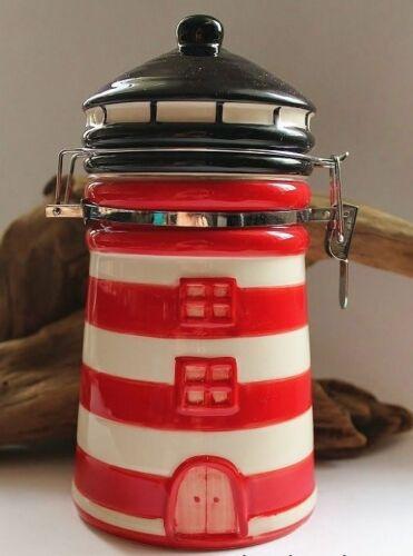 Vorratsdose maritim als Leuchtturm mit Bügelschloß Keramik rot ca Ø 10 x 19 cm