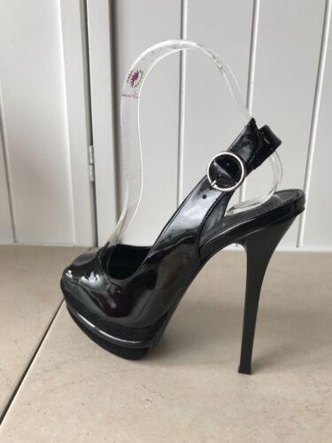 "Women/'s Black Vegan Patent Leather ~5/"" Heel"