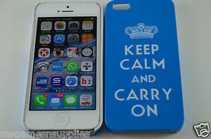 Blue-Keep-Calm-and-Carry-On-KCCO-Hard-Plastic-Full-Back-Case-for-iPhone-SE-5S-5