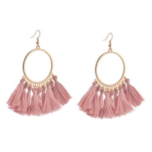 Women Retro Bohemian Tassel Earrings Vintage Fringe Dangle Jewelry Girls Gifts