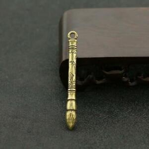 Antique-Brass-Chinese-Brush-Pendant-Small-Statue-Ornament-Collectible-Xmas-Gifts