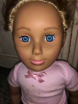 Vtg 90 S Tollytots Soft Body Doll Girl Blue Eyes Blonde Curly Hair Freckles Ebay