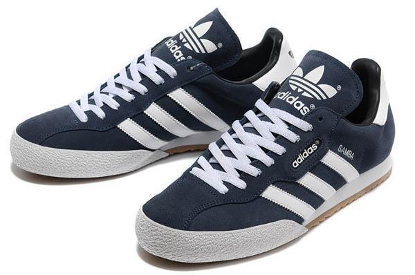 Da Uomo Adidas Originals Scarpe Da Ginnastica Nuove Samba Super Camoscio Blu Marino Scarpe 019332 Taglia 7-12