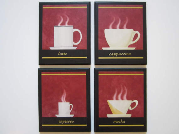 Coffee Cups Beige Tan 4 Plaques Kitchen Wall Decor Signs Espresso ...