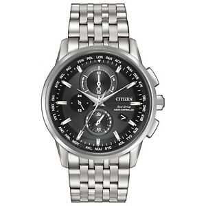 Citizen-Eco-Drive-Men-039-s-World-Time-Black-Dial-Silver-Tone-43mm-Watch-AT8110-53E