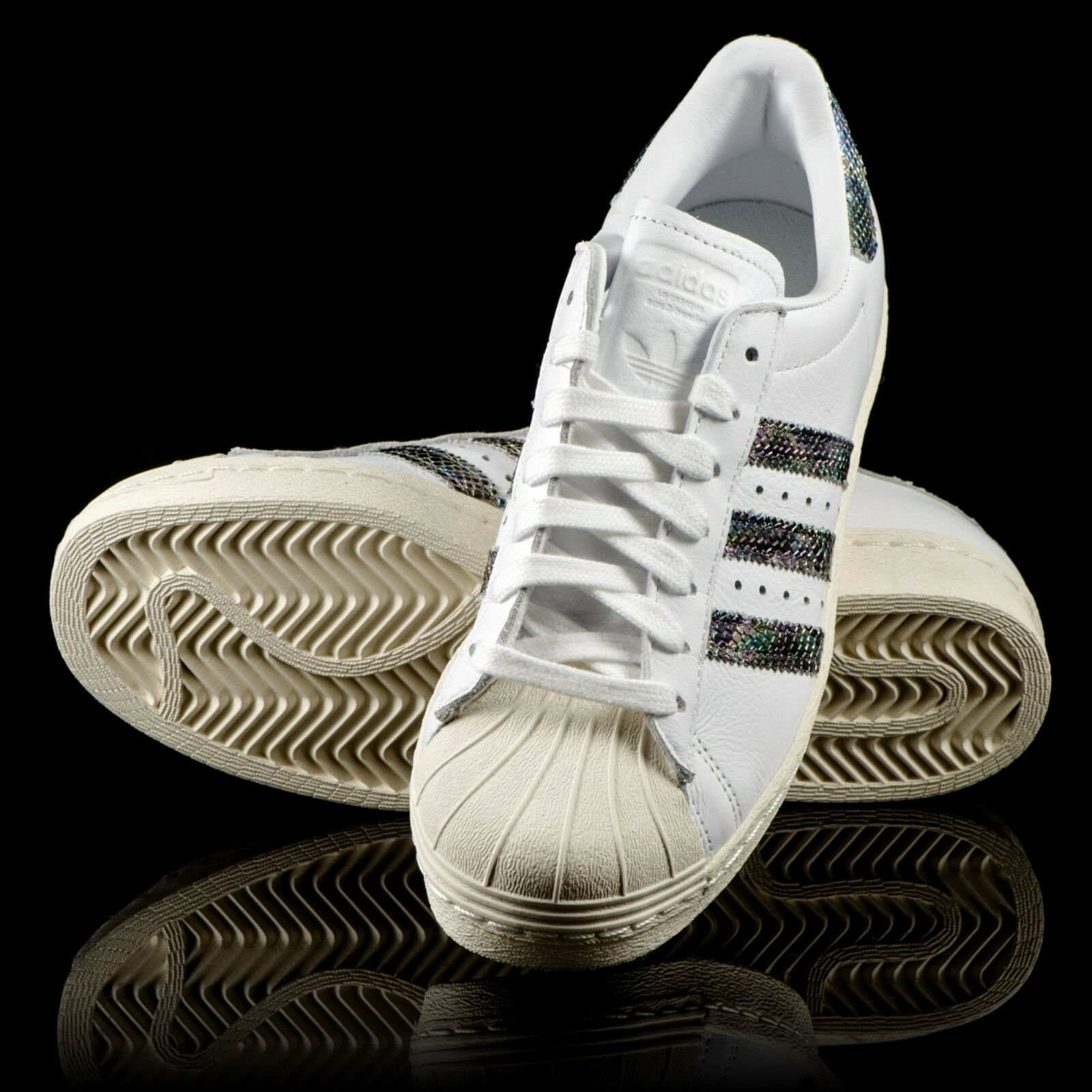 New ADIDAS Originals SUPERSTAR 80's shoes men's 10 white & snakeprint sneakers
