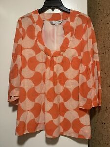 Trina Turk Women Lined Blouse Silk Orange White Flare Sleeve Sz 6