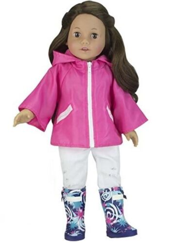"Pink Rain Coat Jacket w Starry Wellies Boots for American Girl 18/"" Doll Clothes"