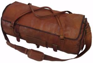 Large-X Large Men/'s Real Leather luggage gym Round overnight duffle bag vintage