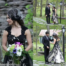 Hi Low Wedding Dress Modest Black and White Summer Gothic Bridal Gowns Custom