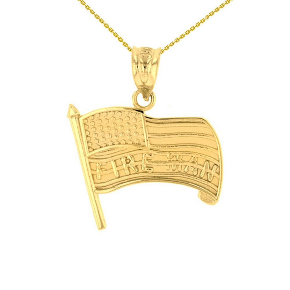 Solid 14k Yellow gold Fire Man American Flag Pendant
