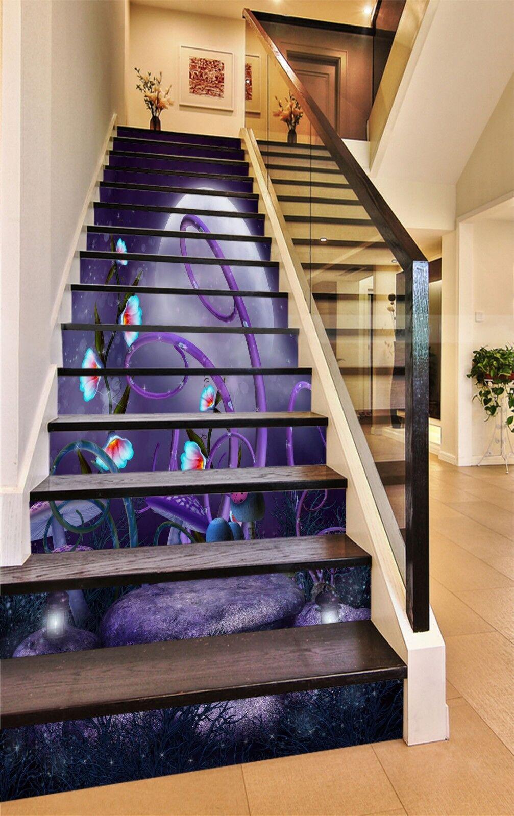 3D violet Mushroom Stair Risers Decoration Photo Mural Vinyl Decal Wallpaper CA