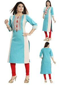 Women-Indian-Top-Tunic-Kurti-Tunic-Kurta-Shirt-Dress-Cotton-Printed-MM216