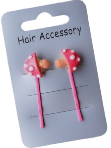 Pair of Girls Coloured Toadstool Motif Hair Slides Pins Grips Clips SALE
