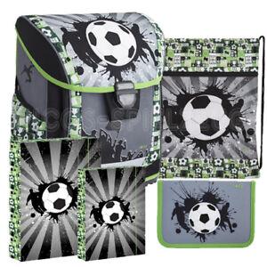 077b6e1e33c49 Das Bild wird geladen Fussball-Soccer-Schulranzen-Schulmappe-Tornister- Schulrucksack-Ranzen-Set-