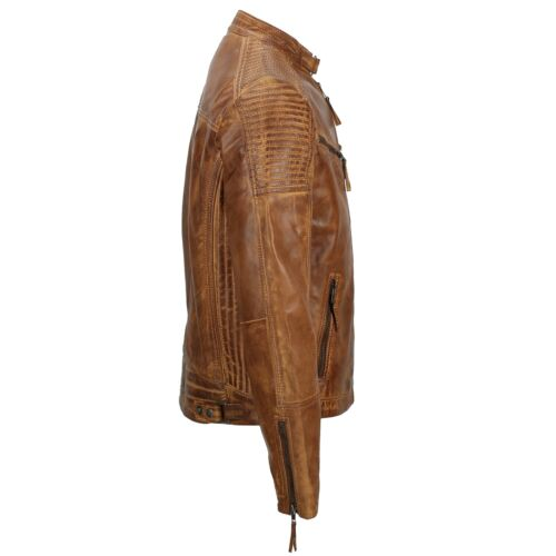 véritable Veste cuir zippée bois homme motard pour délavé de en traité en vintage vintage style 0fr04q