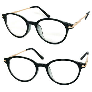 76395a13fea1 Image is loading Round-Reading-Glasses-Readers-Metal-Arms-Spring-Temple-
